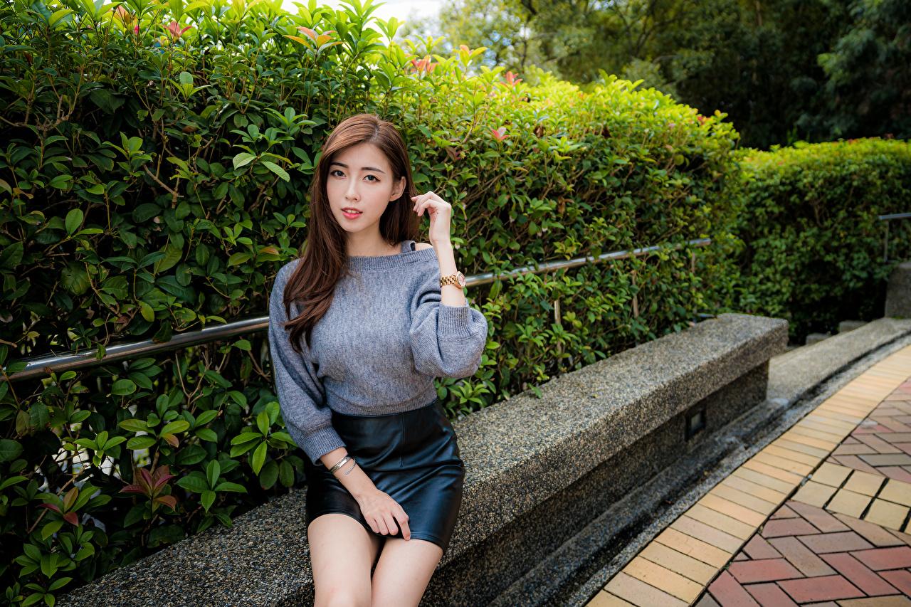 Фото юбке девушка азиатка свитера Сидит смотрят юбки Юбка Девушки молодая женщина молодые женщины Азиаты Свитер азиатки свитере сидя сидящие Взгляд смотрит