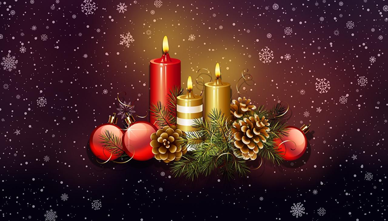 Картинка Рождество Свечи шишка Шарики Новый год Шар Шишки