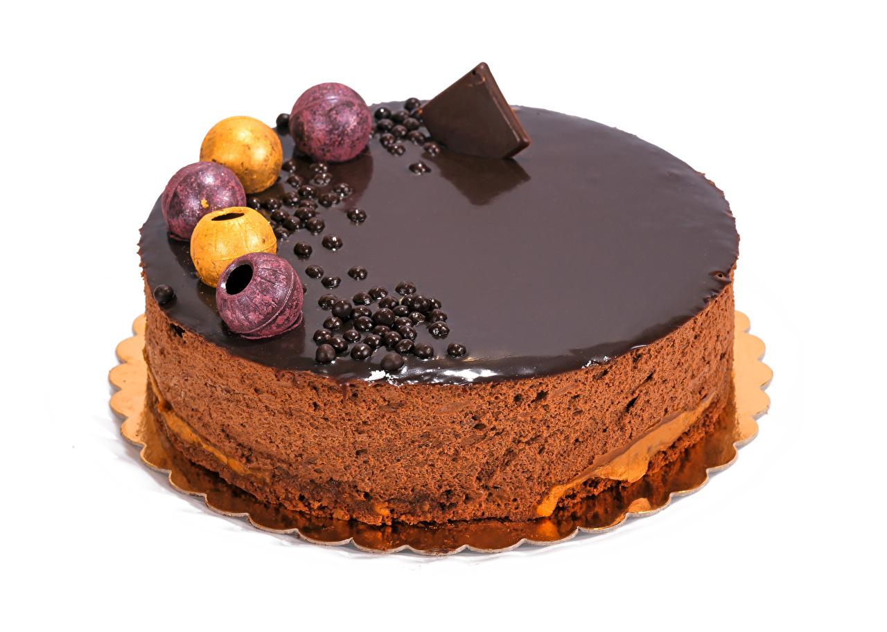 Фото Шоколад Торты Продукты питания Сладости Белый фон Еда Пища