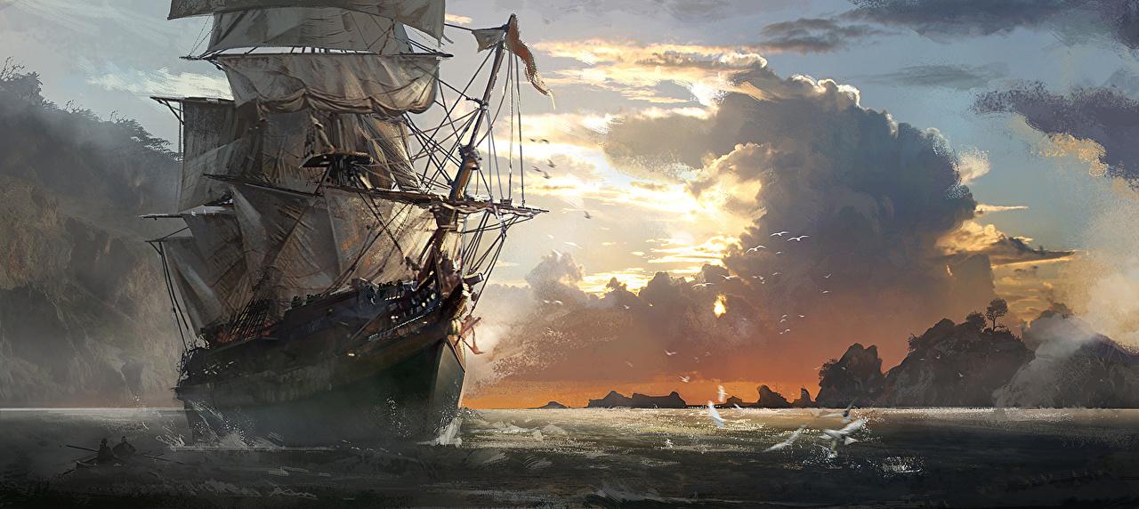 Фотография Assassin's Creed Assassin's Creed 4 Black Flag Игры корабль Парусные Облака Корабли компьютерная игра облако облачно