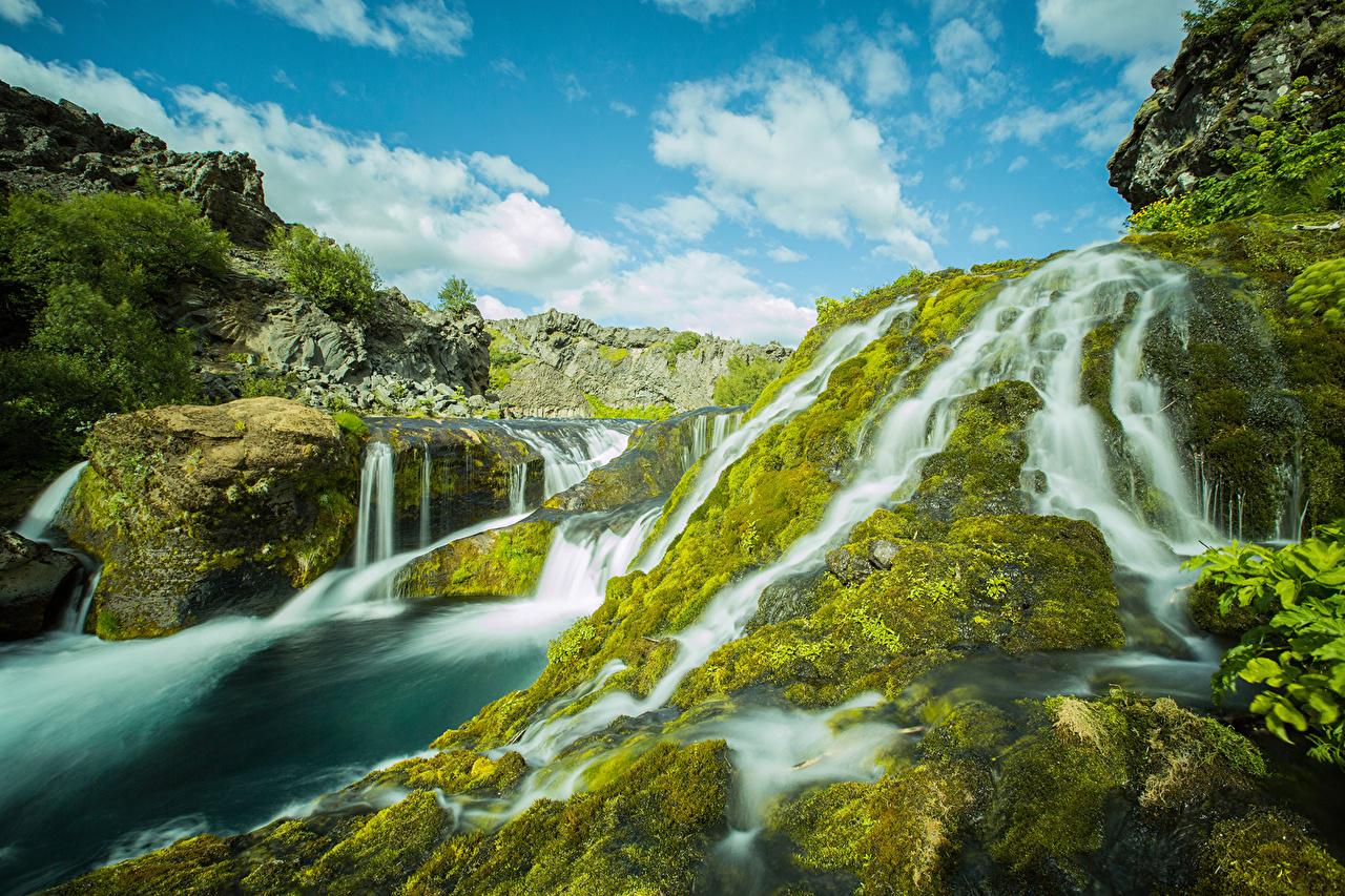Картинки Исландия Gjáin Природа Водопады мха Мох мхом