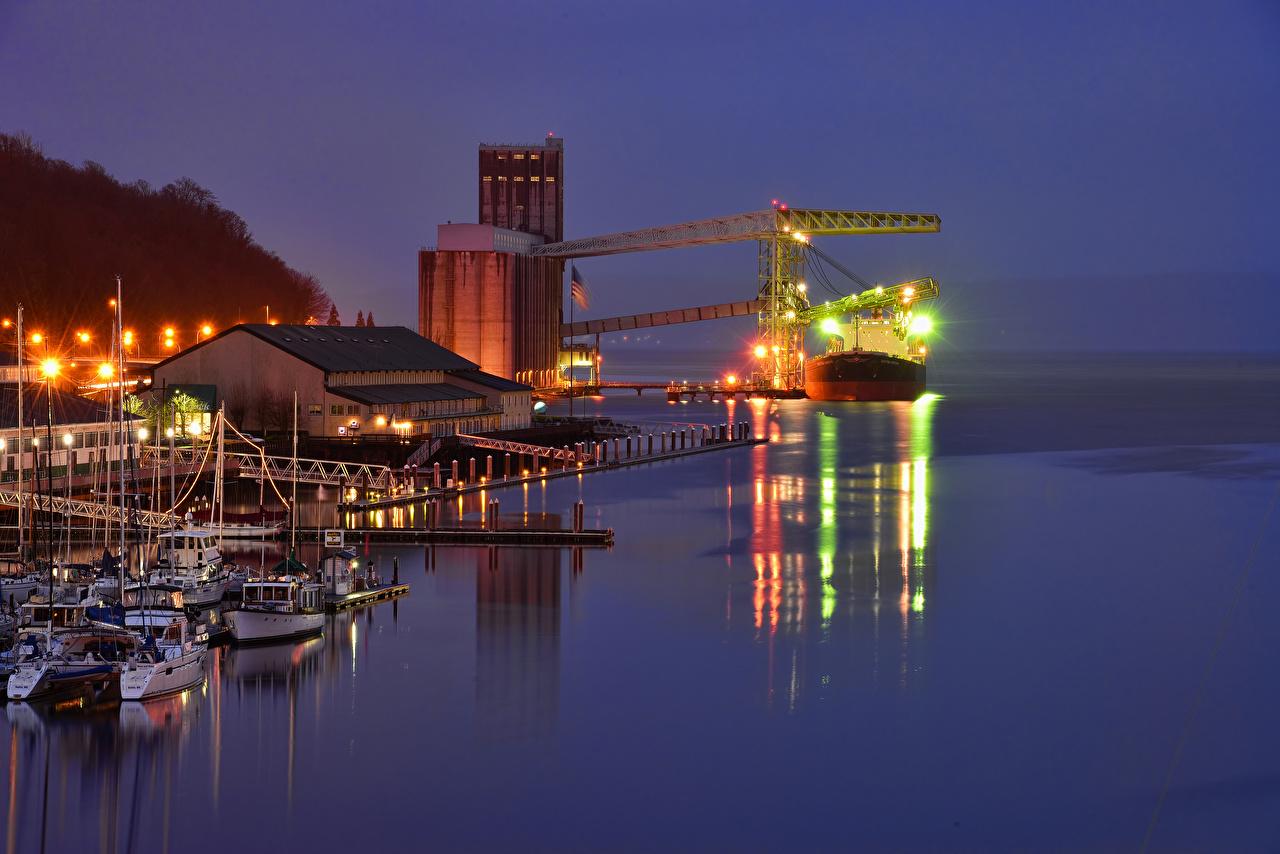 Фото Вашингтон США Tacoma корабль Залив Вечер Причалы Города штаты америка Корабли Пирсы залива заливы Пристань город