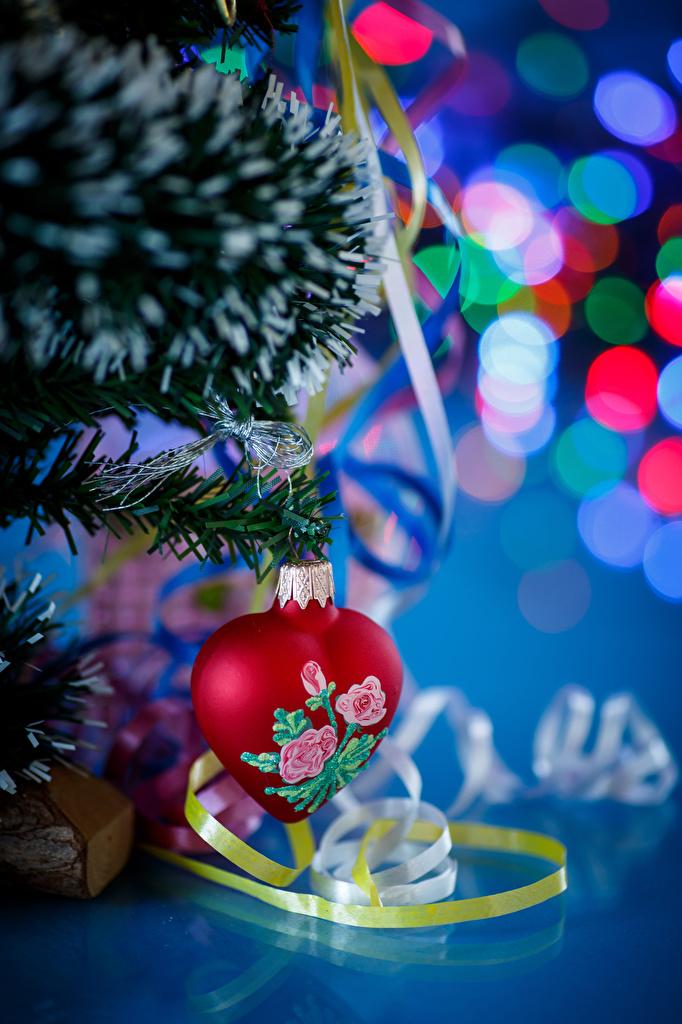 Фотография Новый год серце Ветки ленточка  для мобильного телефона Рождество Сердце сердца сердечко Лента ветка ветвь на ветке