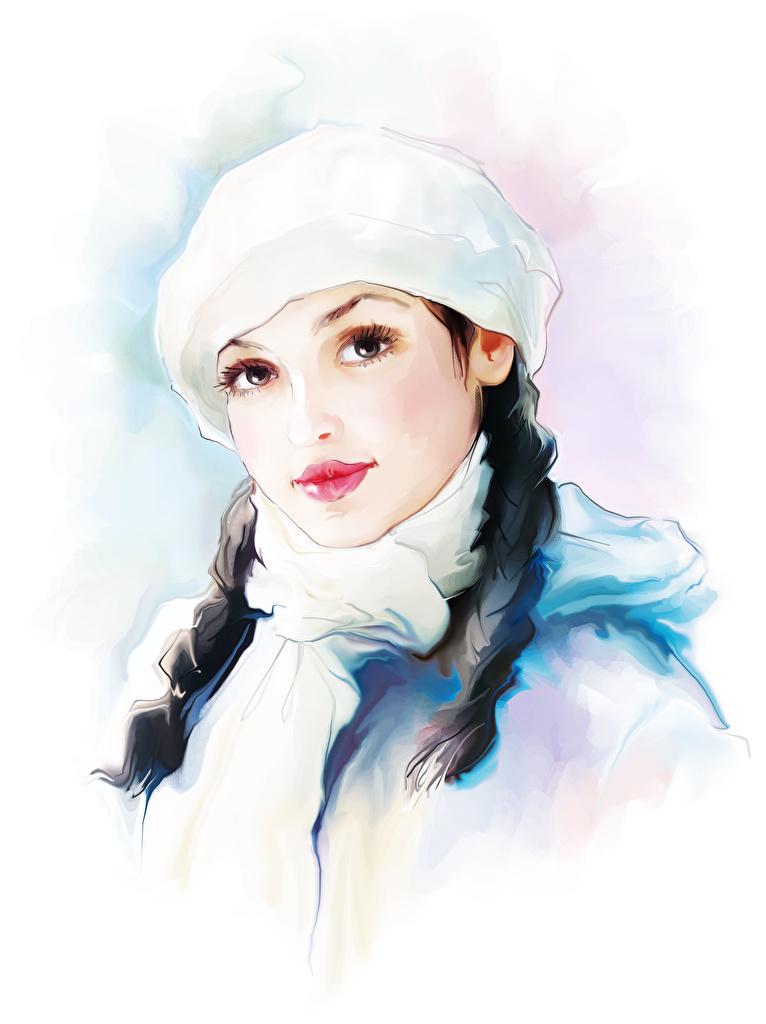 Фотография косички Шапки Девушки Взгляд Белый фон Рисованные Коса смотрит