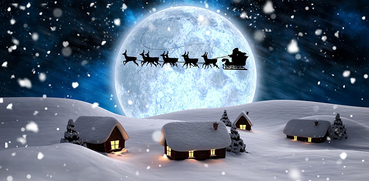 Фото Олени Сани Силуэт зимние Природа Дед Мороз Луна Снег Здания Санки силуэты силуэта Зима Санта-Клаус луны луной снеге снегу снега Дома