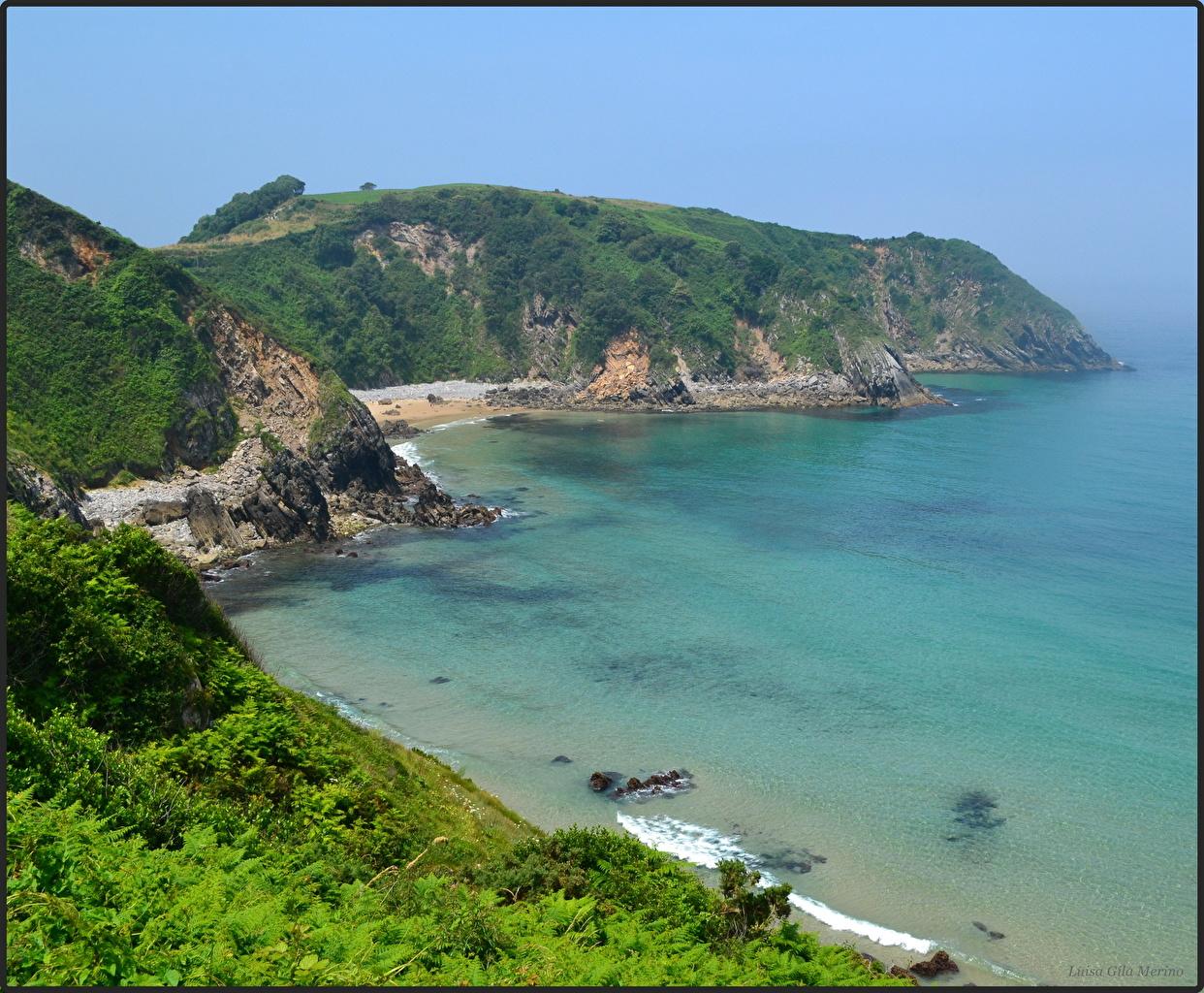 Картинки Испания Cantabria Горы Море Природа Бухта Побережье гора берег бухты