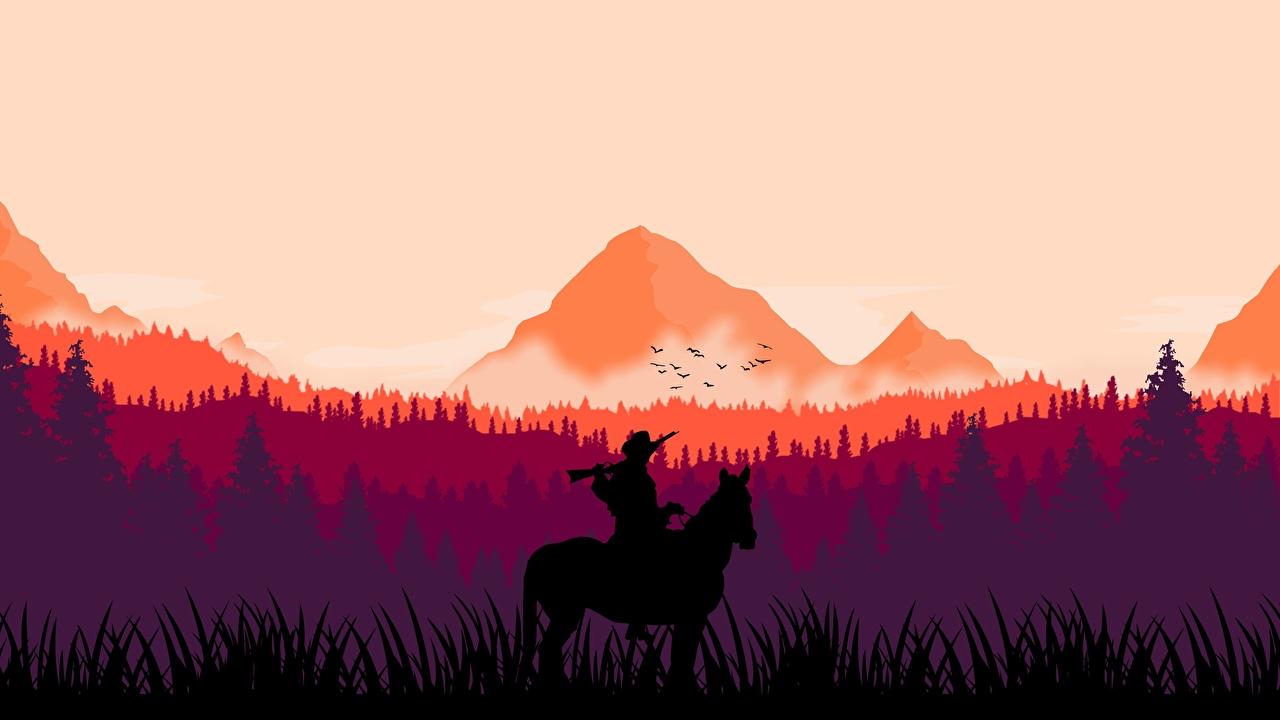 Фотография Red Dead Redemption 2 лошадь Силуэт arthur morgan Горы Леса компьютерная игра Лошади силуэта силуэты гора лес Игры