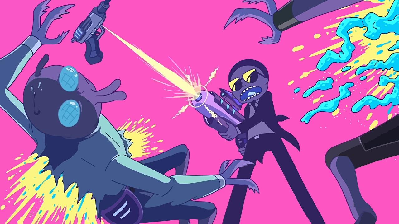 Обои Мальчики Выстрел Инопланетяне Rick and Morty Мультики стрельба Мультфильмы