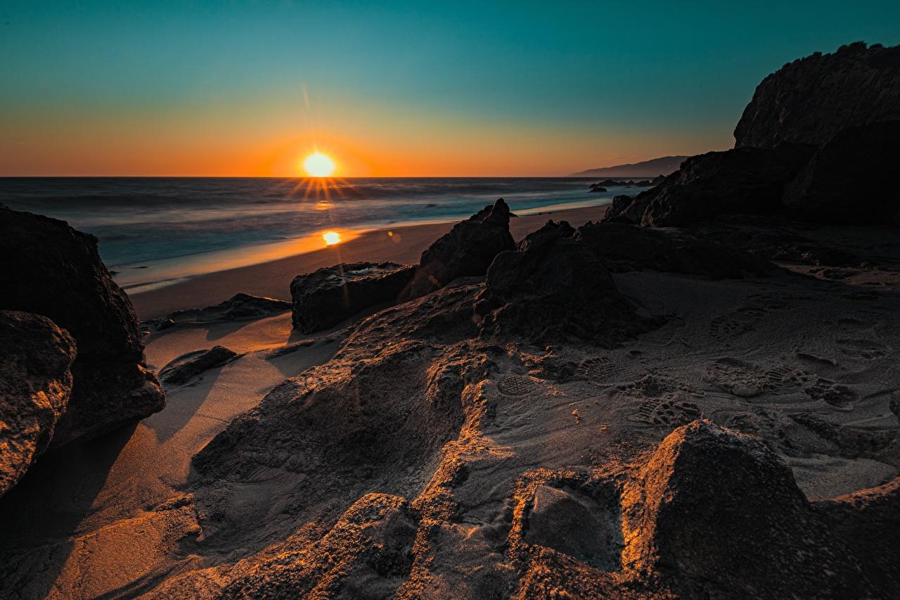 Фотографии Калифорния америка солнца Природа рассвет и закат Побережье калифорнии США штаты Солнце Рассветы и закаты берег