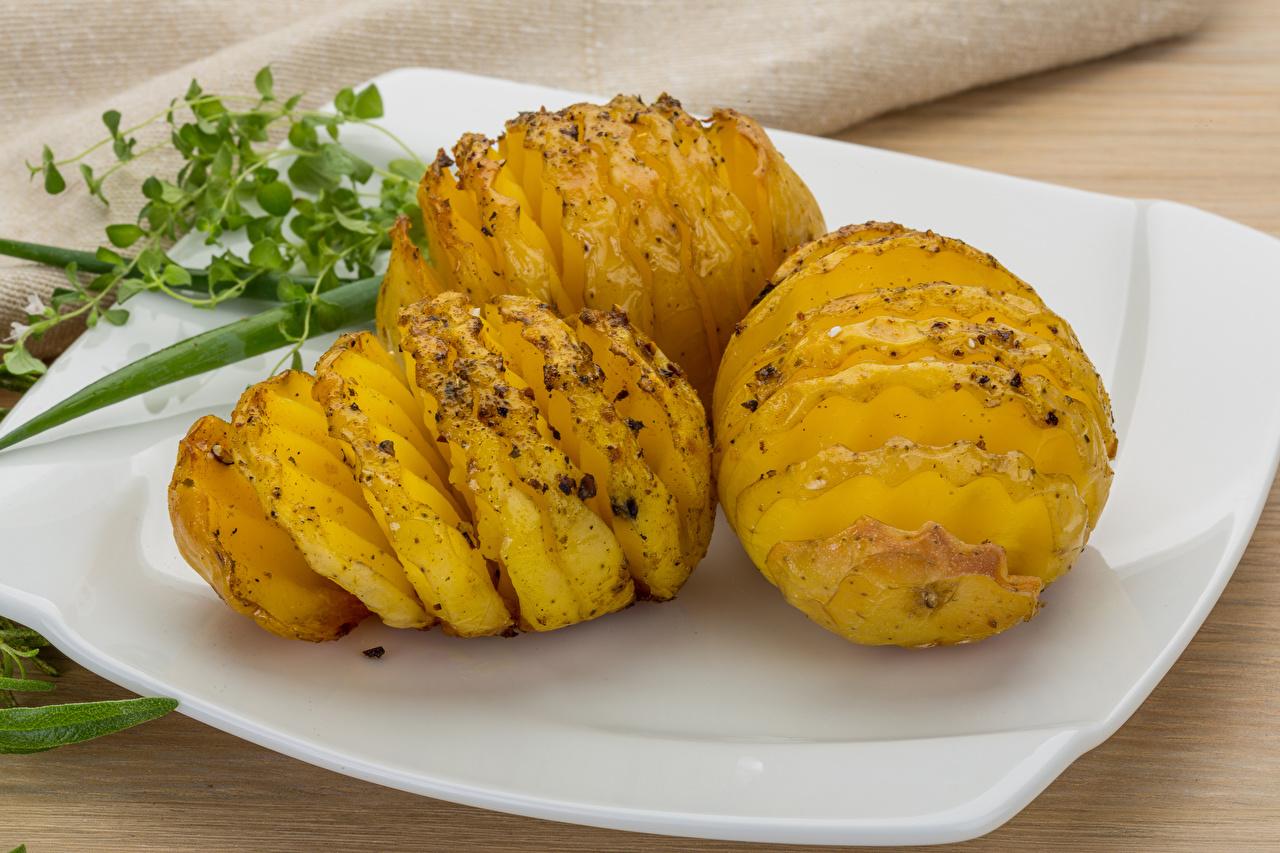 Фотография картошка Еда Тарелка Картофель Пища тарелке Продукты питания