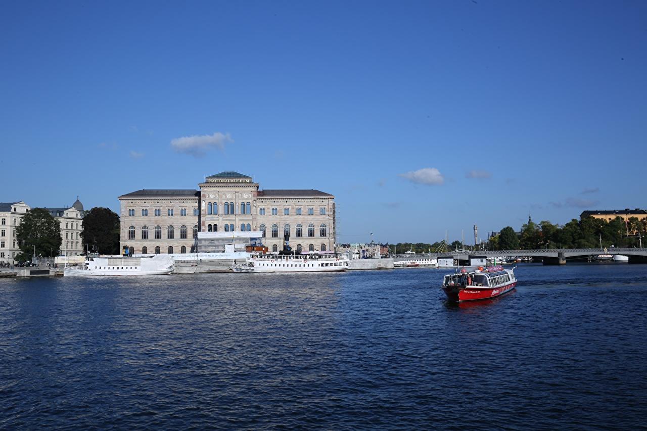 Картинки Стокгольм Швеция Музей Речные суда город музеи Города