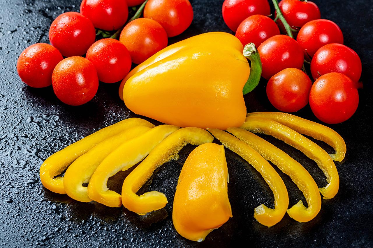 Картинки Томаты Кусок Еда Овощи Перец Помидоры часть кусочек кусочки Пища перец овощной Продукты питания