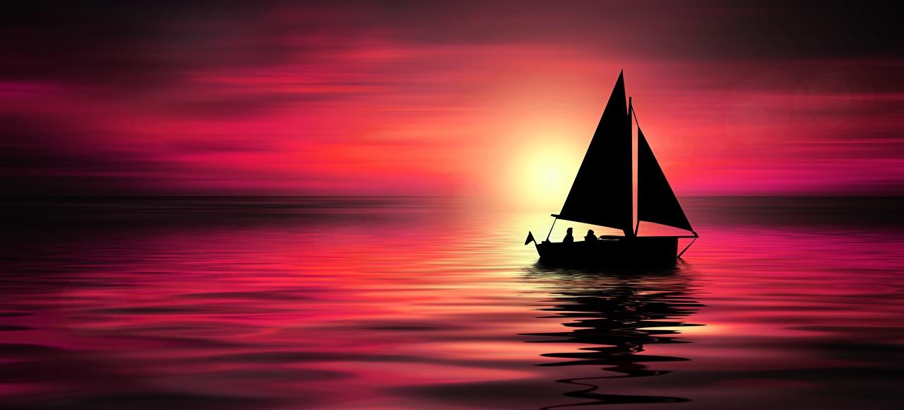 Фотография силуэта Море Природа рассвет и закат Лодки Парусные Силуэт силуэты Рассветы и закаты
