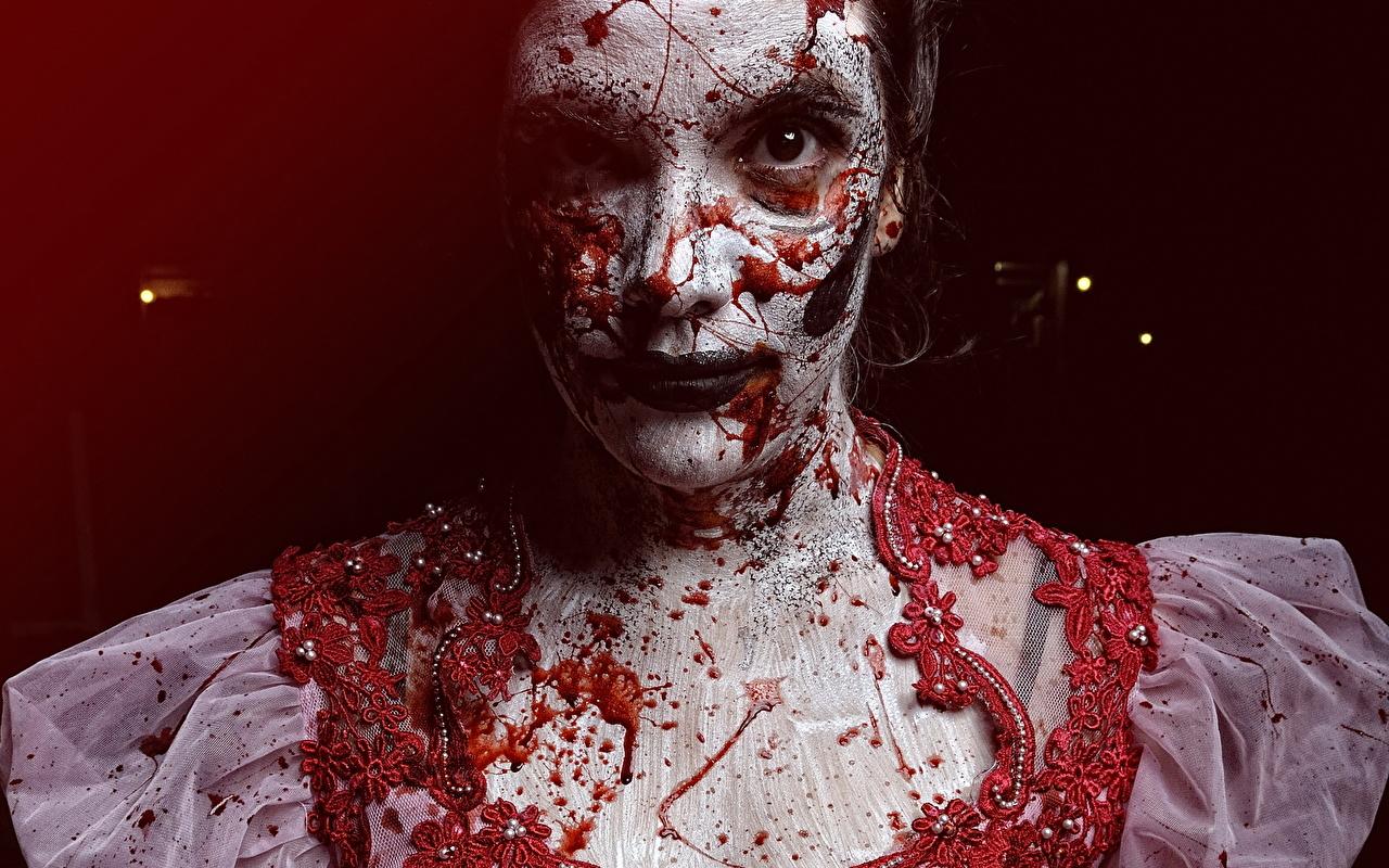 Фотография Кровь Макияж The Boneyard молодые женщины смотрят крови мейкап косметика на лице девушка Девушки молодая женщина Взгляд смотрит