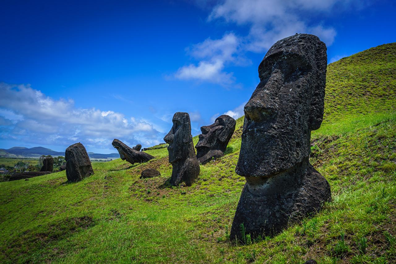 Фото Чили Фигура Ranu Raraku, Easter Island Природа Камни Камень