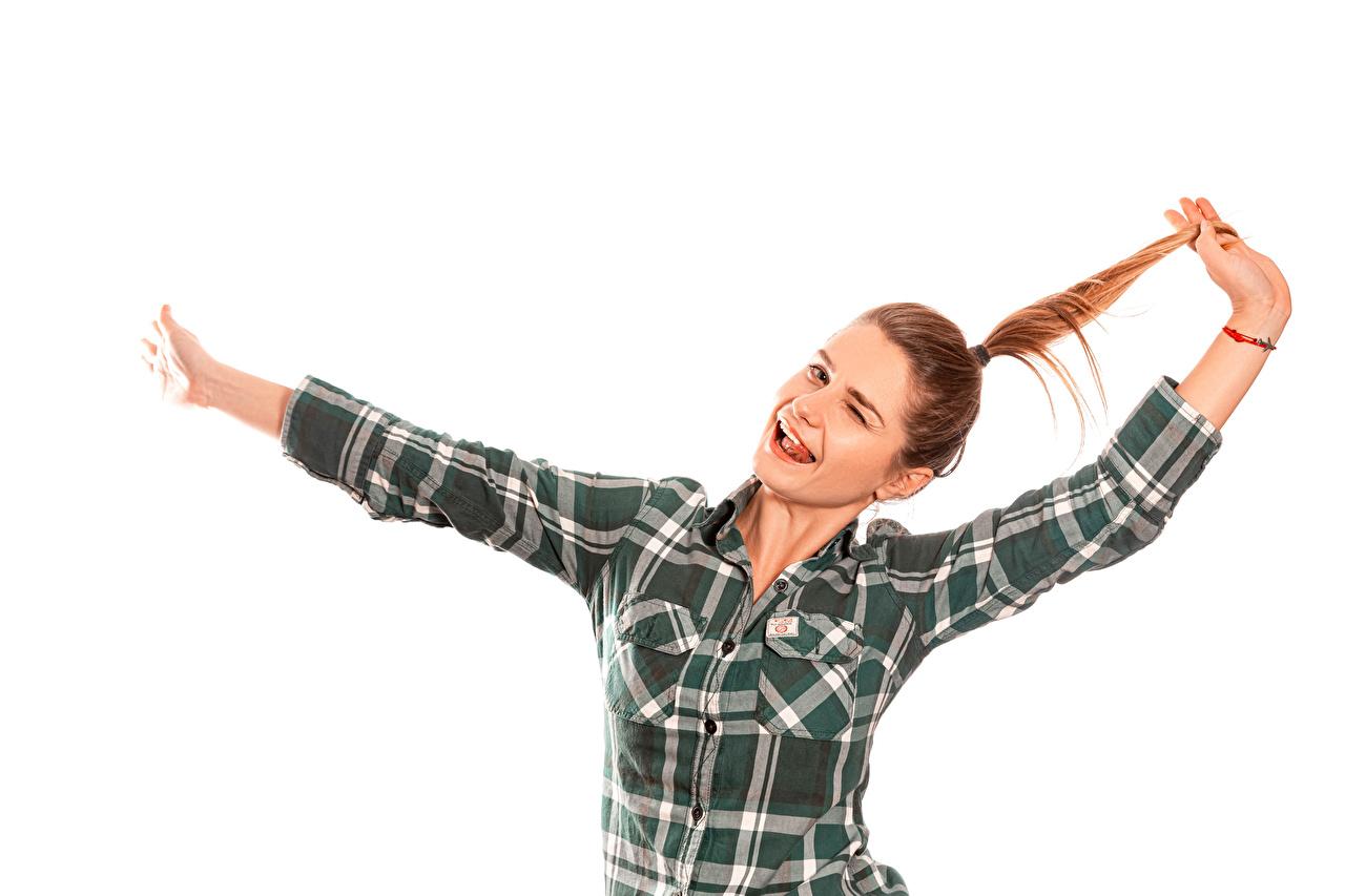 Фотографии Шатенка Радость рубашки молодая женщина рука Белый фон шатенки счастье радостный радостная счастливые счастливый счастливая рубашке Рубашка девушка Девушки молодые женщины Руки белом фоне белым фоном
