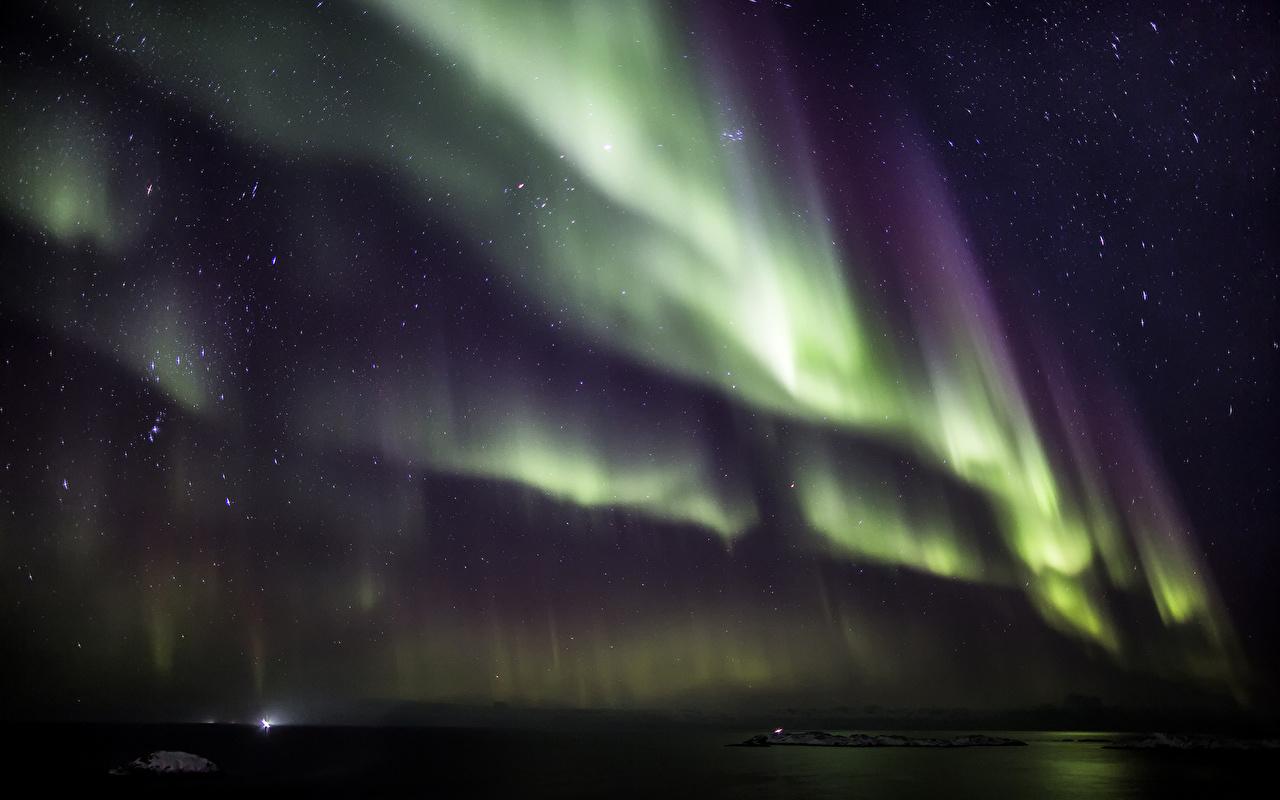 Обои для рабочего стола Звезды северное сияние Космос Небо ночью Полярное сияние Ночь в ночи Ночные