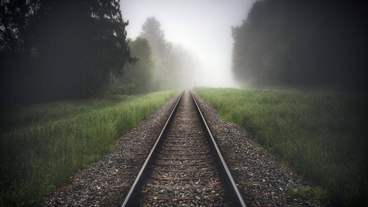 Картинки Рельсы тумане Природа Трава Железные дороги рельсах Туман тумана траве