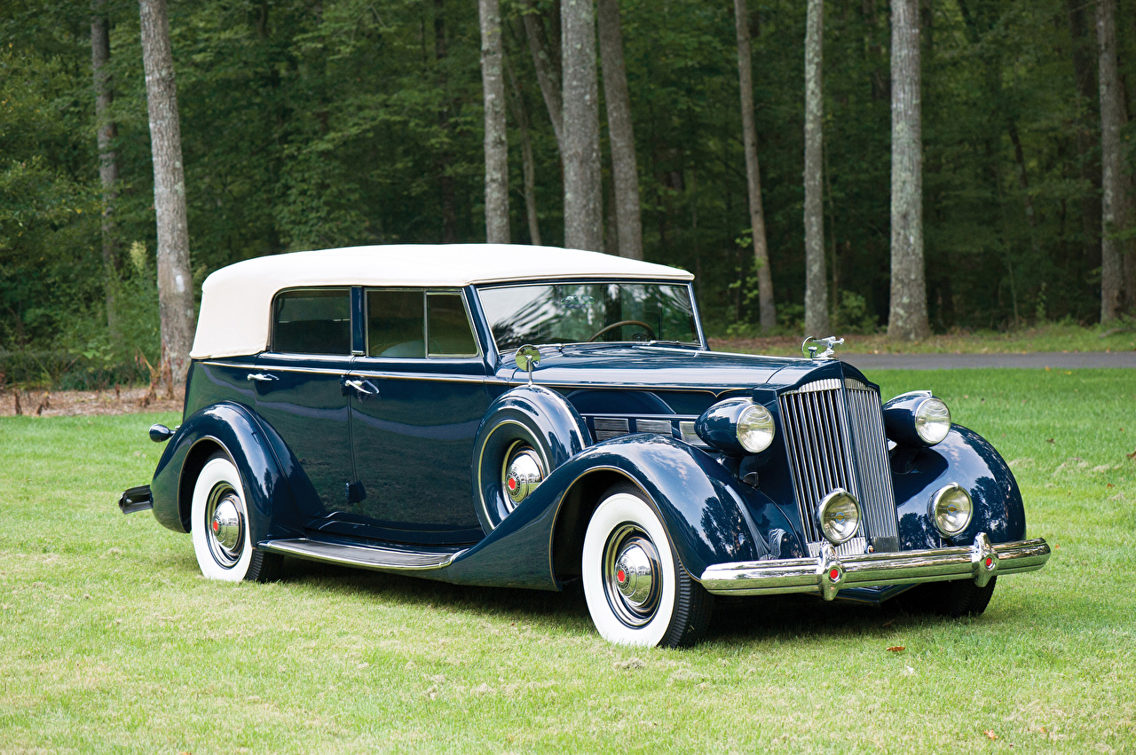 Фотография 1937 Packard Super Eight Convertible Sedan Седан Синий старинные Металлик автомобиль синих синие синяя Ретро Винтаж авто машина машины Автомобили