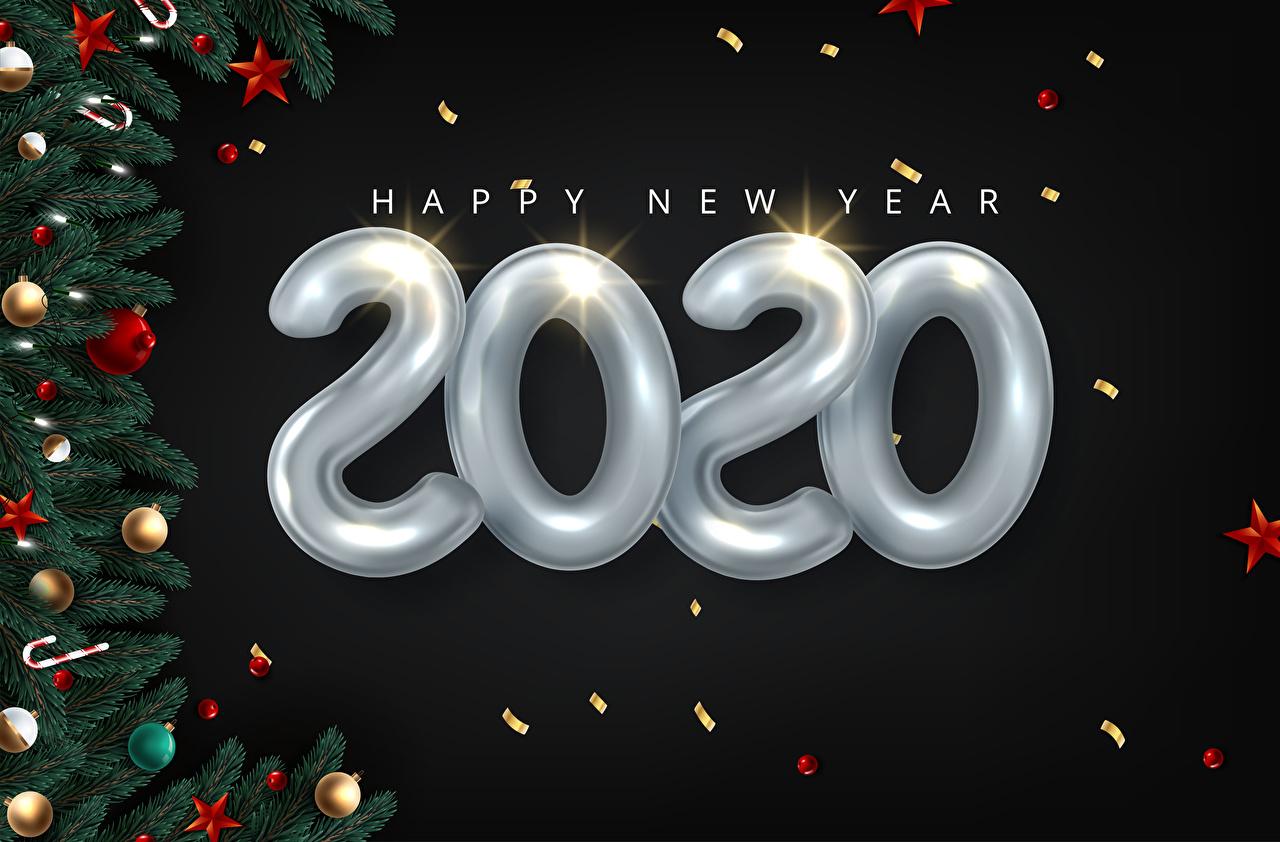 Фотографии 2020 Рождество Звездочки Английский ветка Шарики на черном фоне Векторная графика Новый год инглийские английская Шар Ветки ветвь на ветке Черный фон