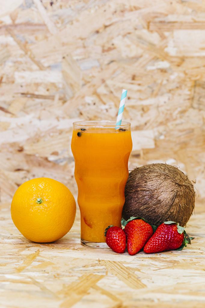 Картинка Сок Апельсин Кокосы Стакан Клубника Еда стакана стакане Пища Продукты питания
