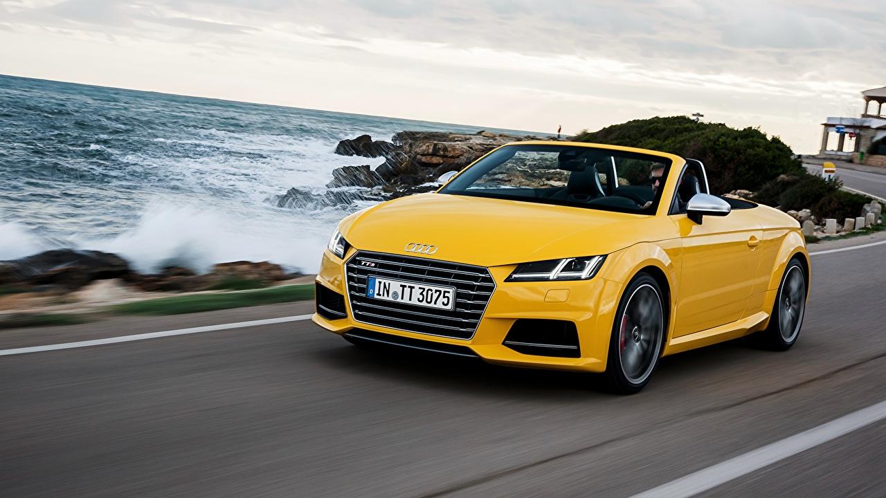 Фотографии Ауди 2014 TTS Roadster Родстер Кабриолет Желтый автомобиль Audi кабриолета желтых желтые желтая авто машина машины Автомобили