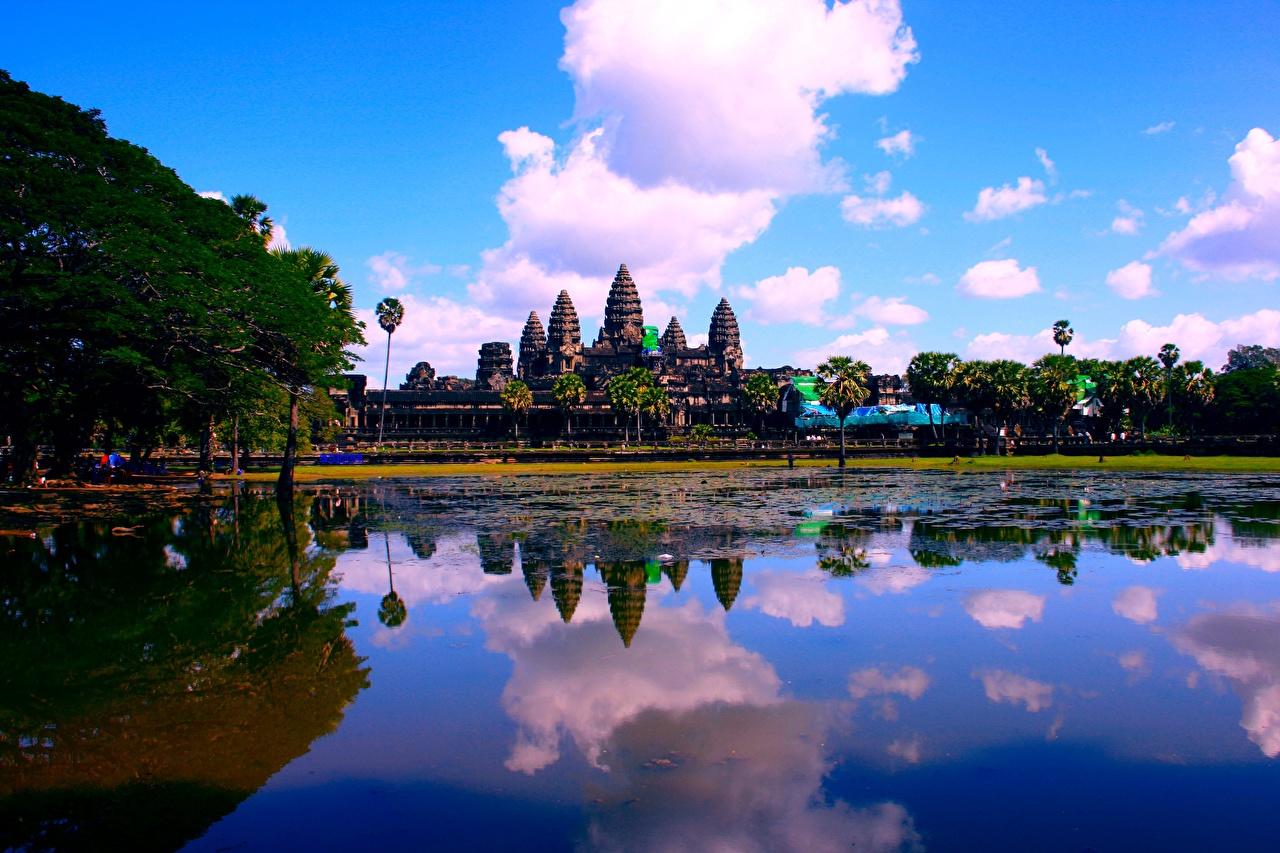 Фотографии Cambodia, Angkor Wat Озеро Отражение Храмы Города Облака Религия