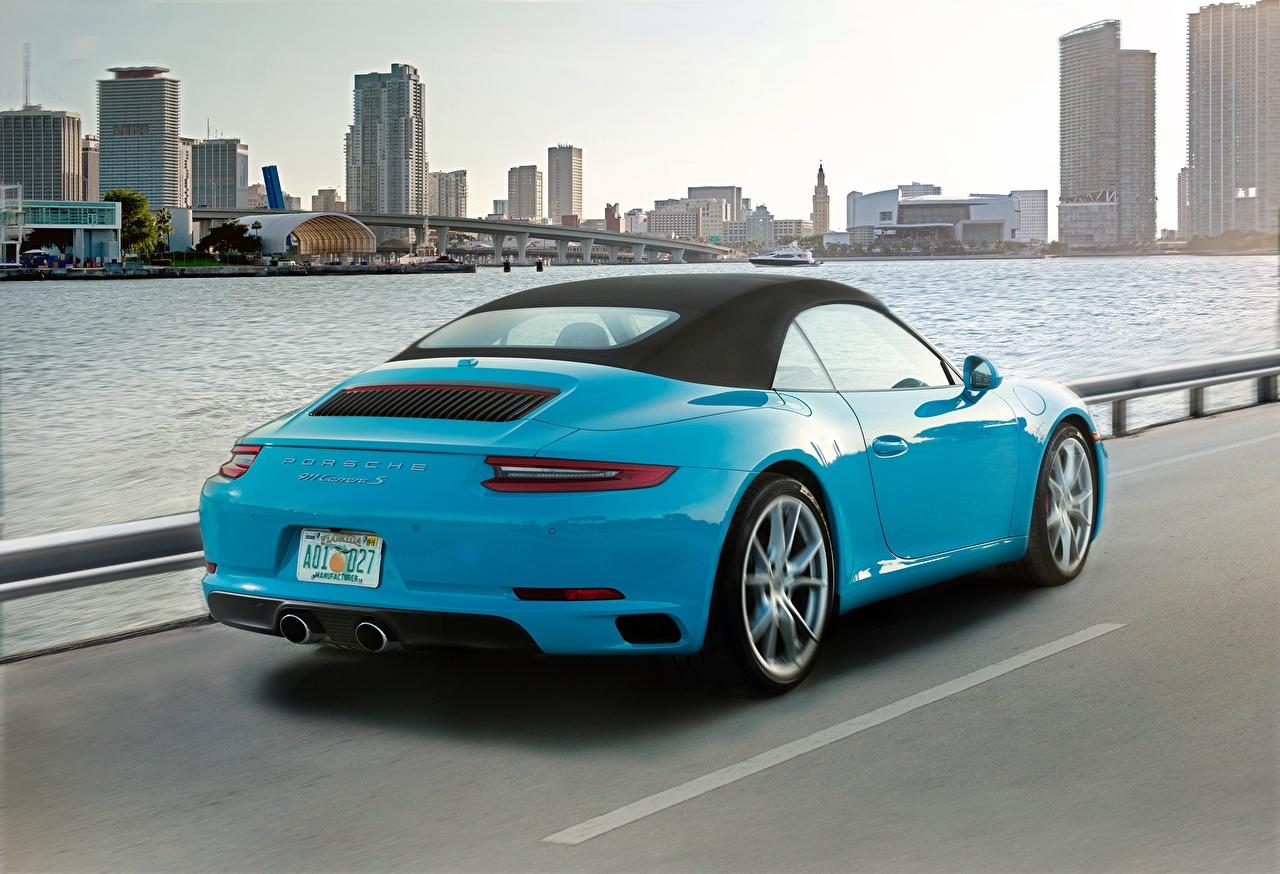 Фото Порше 911 Carrera S Cabriolet голубых Сзади машины Porsche Голубой голубые голубая авто машина вид сзади автомобиль Автомобили