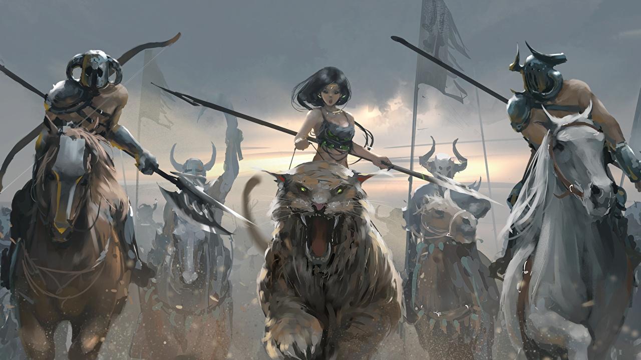 Картинка лошадь с копьем Воители Бег Фэнтези девушка Волшебные животные Копья Лошади воин воины бежит бегущая бегущий Девушки Фантастика молодая женщина молодые женщины
