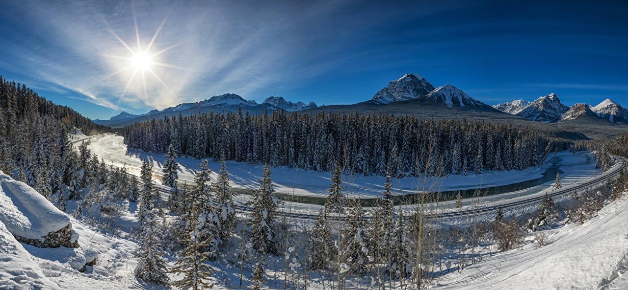 Обои Банф Канада ели Горы Солнце зимние Природа Леса снега Парки Ель Зима солнца Снег снеге снегу