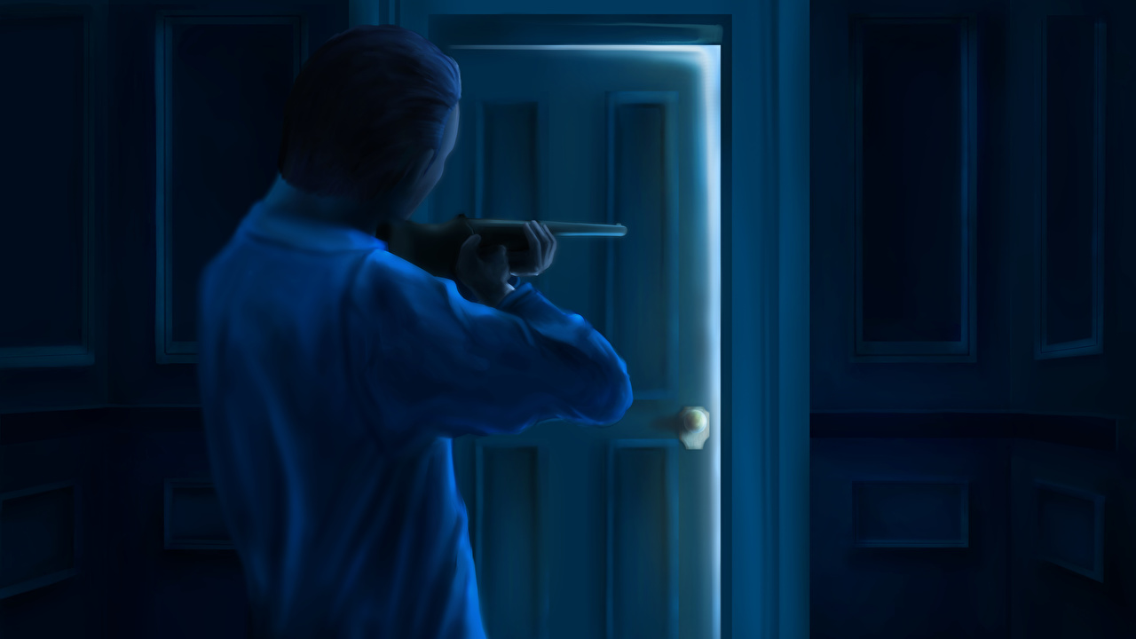 Картинка Винтовки Мужчины Фантастика Дверь Рисованные Фэнтези двери