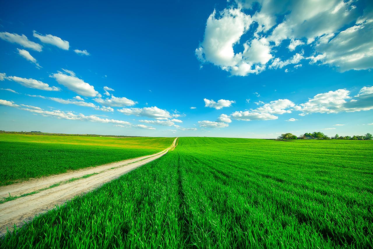 Обои для рабочего стола Природа Небо Поля Пейзаж Дороги Облака