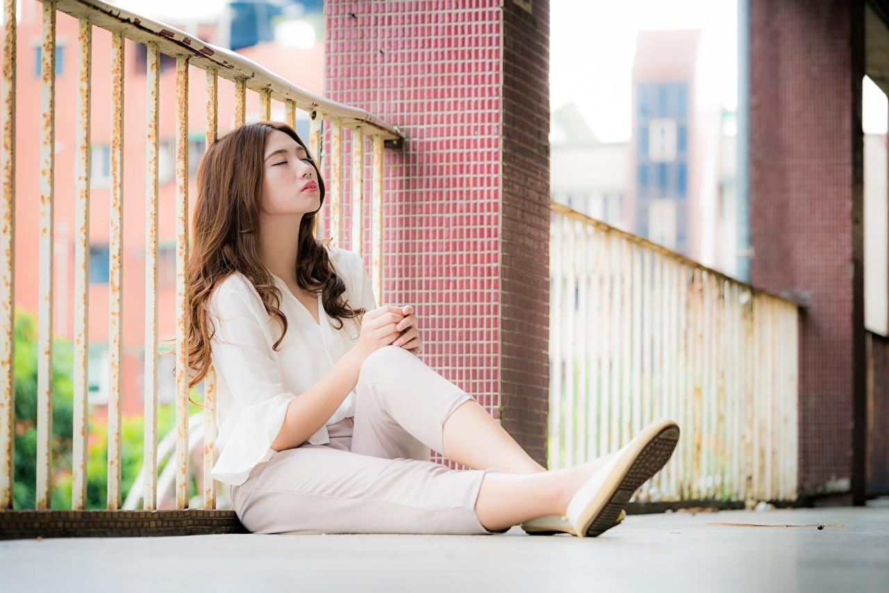 Фотографии шатенки Размытый фон молодые женщины ног забором азиатка сидящие Шатенка боке девушка Девушки молодая женщина Ноги Забор забора ограда Азиаты азиатки сидя Сидит