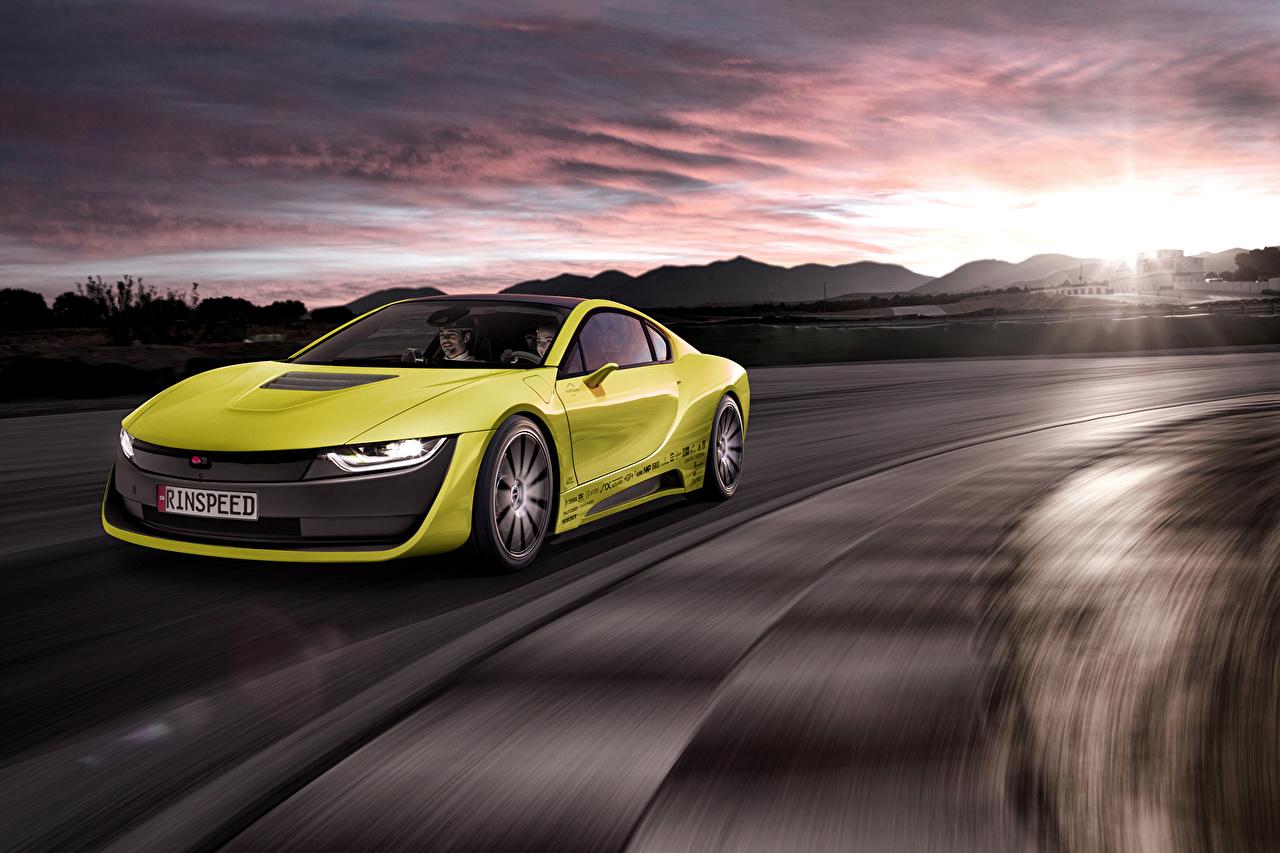 Фотографии БМВ Тюнинг 2015 Rinspeed Etos concept (BMW i8) желтая рассвет и закат Автомобили BMW Стайлинг желтых желтые Желтый Рассветы и закаты авто машина машины автомобиль