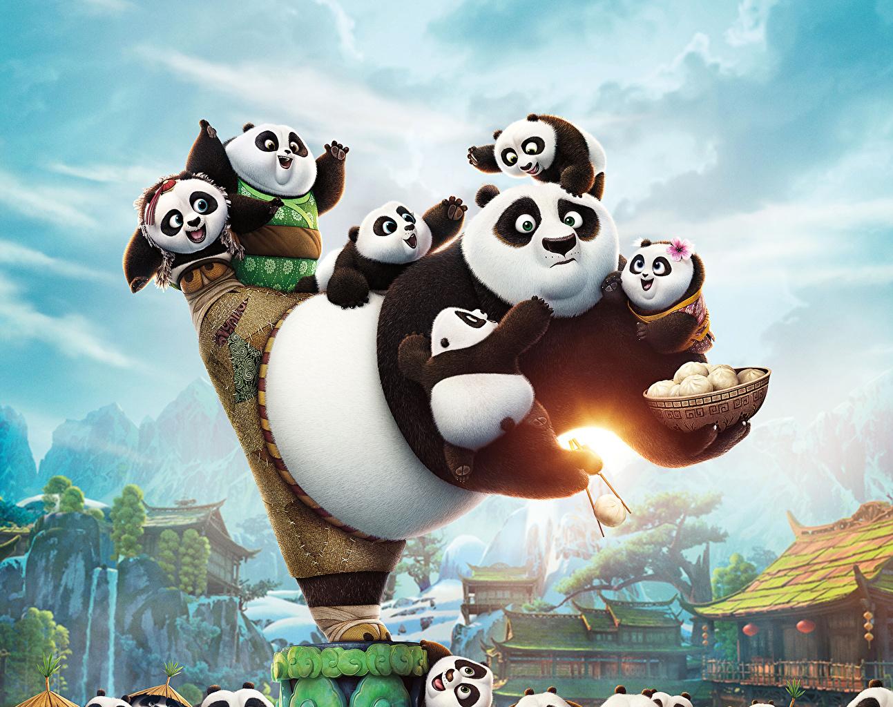 Картинка Кунг-фу Панда Панды Медведи Детеныши 3 Музыка бамбуковый медведь