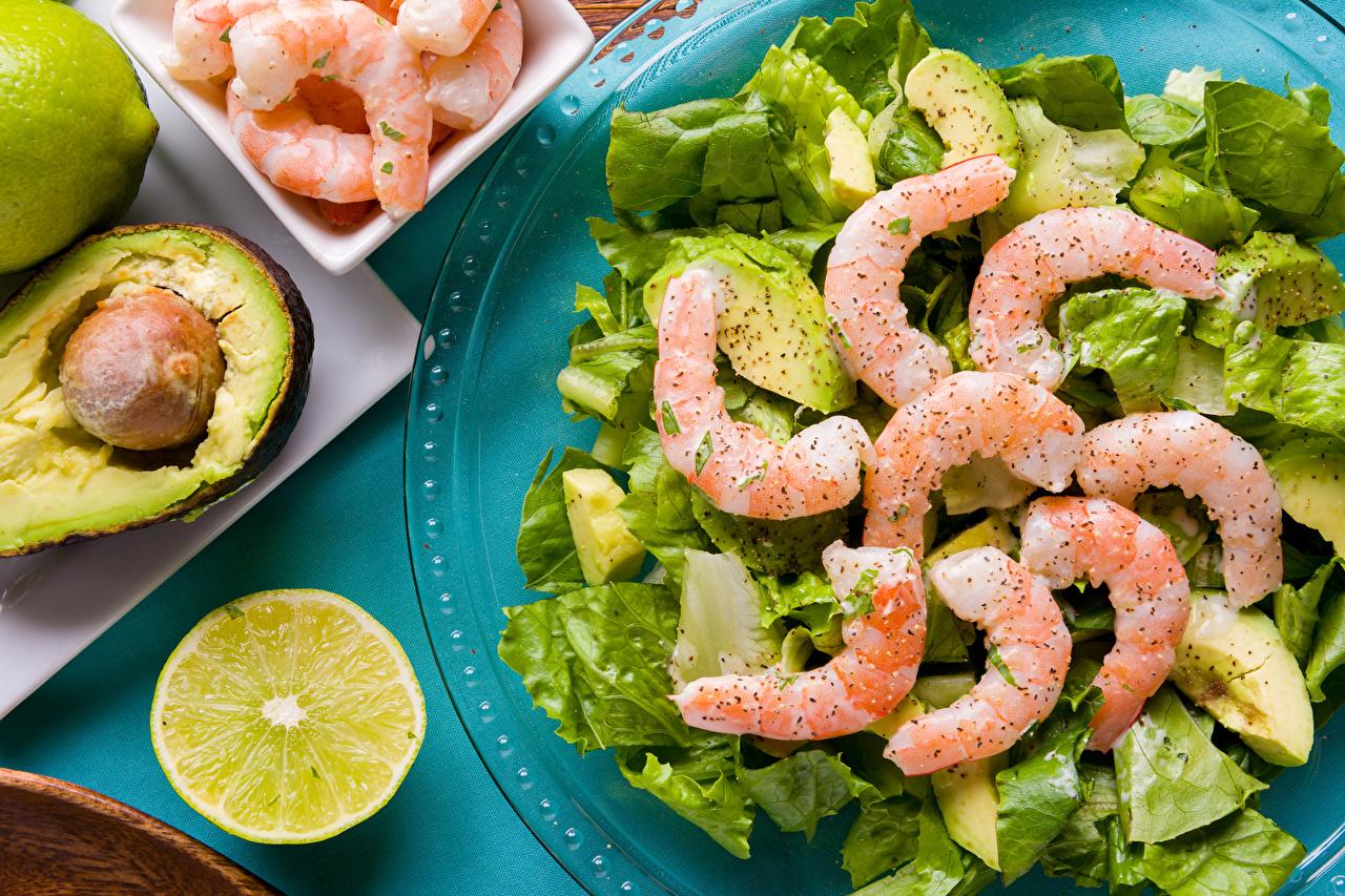 Картинки Лимоны Креветки Еда Овощи Салаты Морепродукты Пища Продукты питания