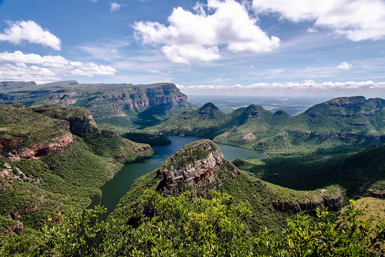 Фото ЮАР Blyde River Canyon гора Каньон Природа Пейзаж речка облако Южно-Африканская Республика Горы каньона каньоны Реки река Облака облачно