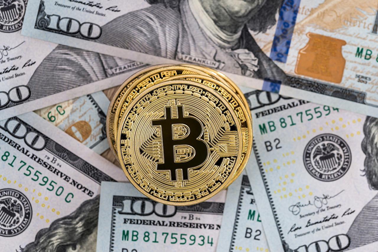 Обои для рабочего стола Bitcoin Монеты Доллары Деньги Биткоин
