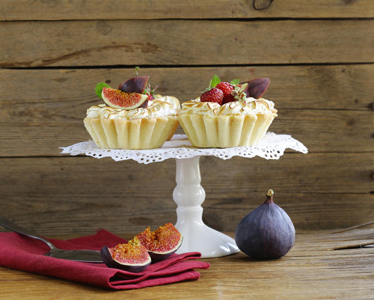 Картинка два Инжир Пища Пирожное Доски 2 две Двое вдвоем Еда Продукты питания