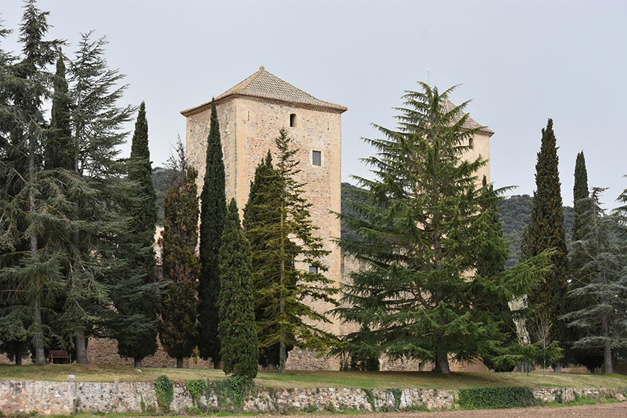 Картинка Монастырь Испания Monestir de Santa Maria de Poblet Ель Храмы Дома Города Здания