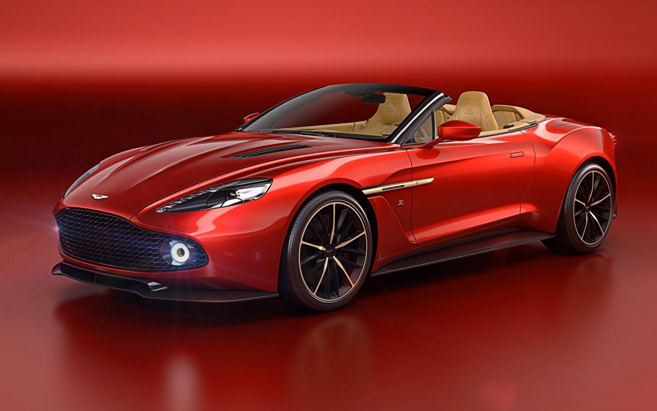 Фотография Астон мартин Vanquish Кабриолет красная Автомобили Aston Martin кабриолета Красный красные красных авто машины машина автомобиль