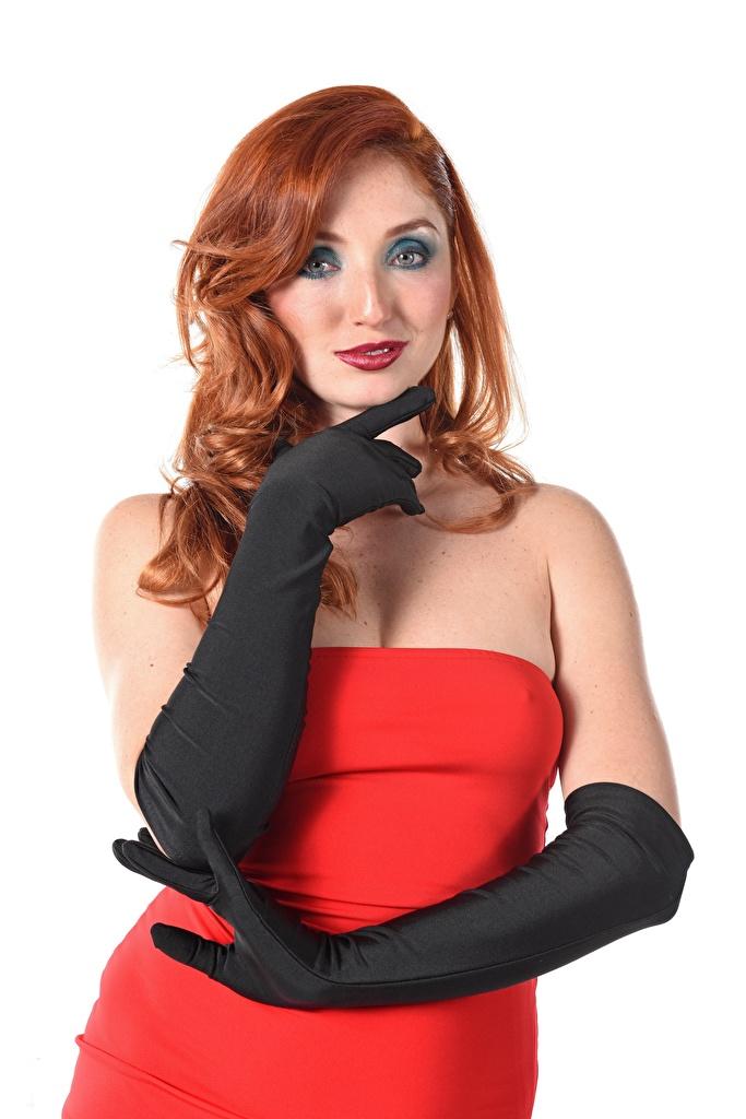 Картинка молодые женщины Red Fox Michelle H белом фоне Руки Перчатки Платье iStripper рыжих Взгляд  для мобильного телефона девушка Девушки молодая женщина Белый фон белым фоном рука перчатках платья рыжие Рыжая смотрит смотрят