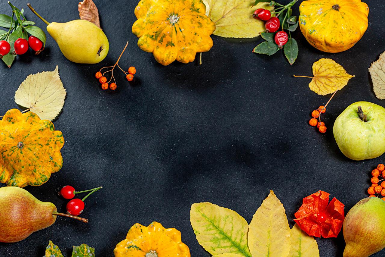 Картинки Листья Осень Тыква Шиповник плоды Груши Яблоки Еда Шаблон поздравительной открытки лист Листва осенние Пища Продукты питания