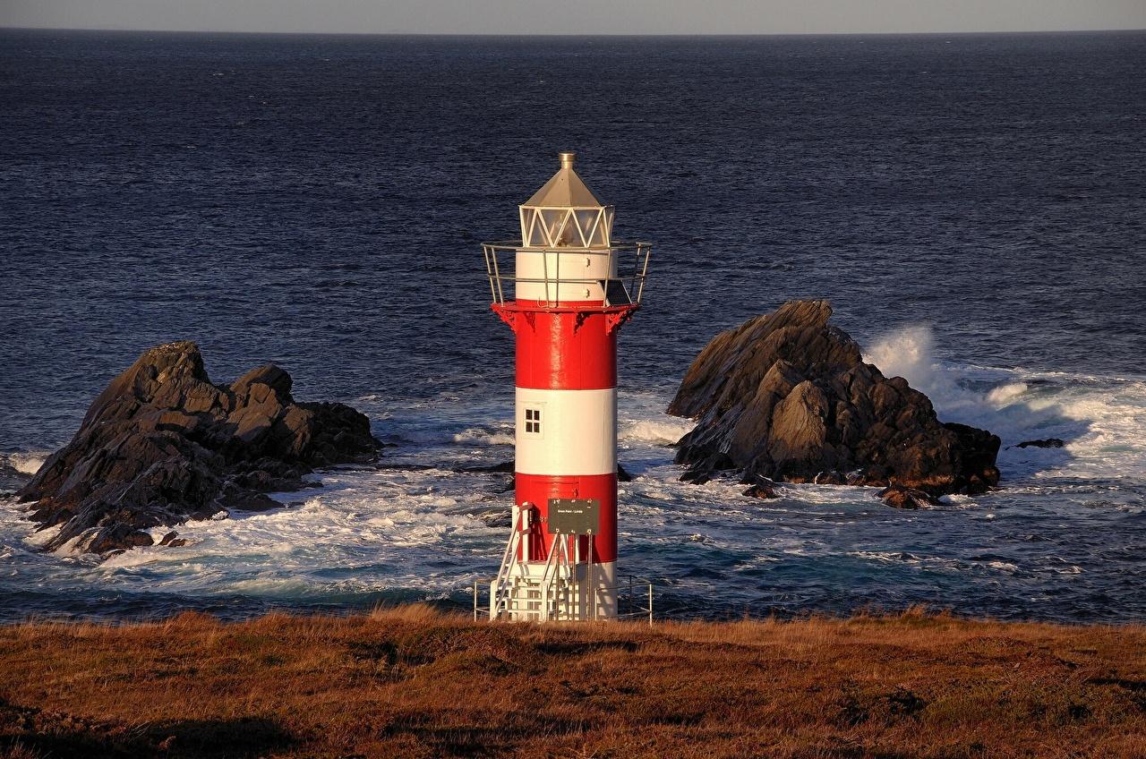 Фото Канада Green Point Lighthouse Port de Grave, Newfoundland and Labrador Atlantic Ocean маяк Океан Природа Побережье Маяки берег