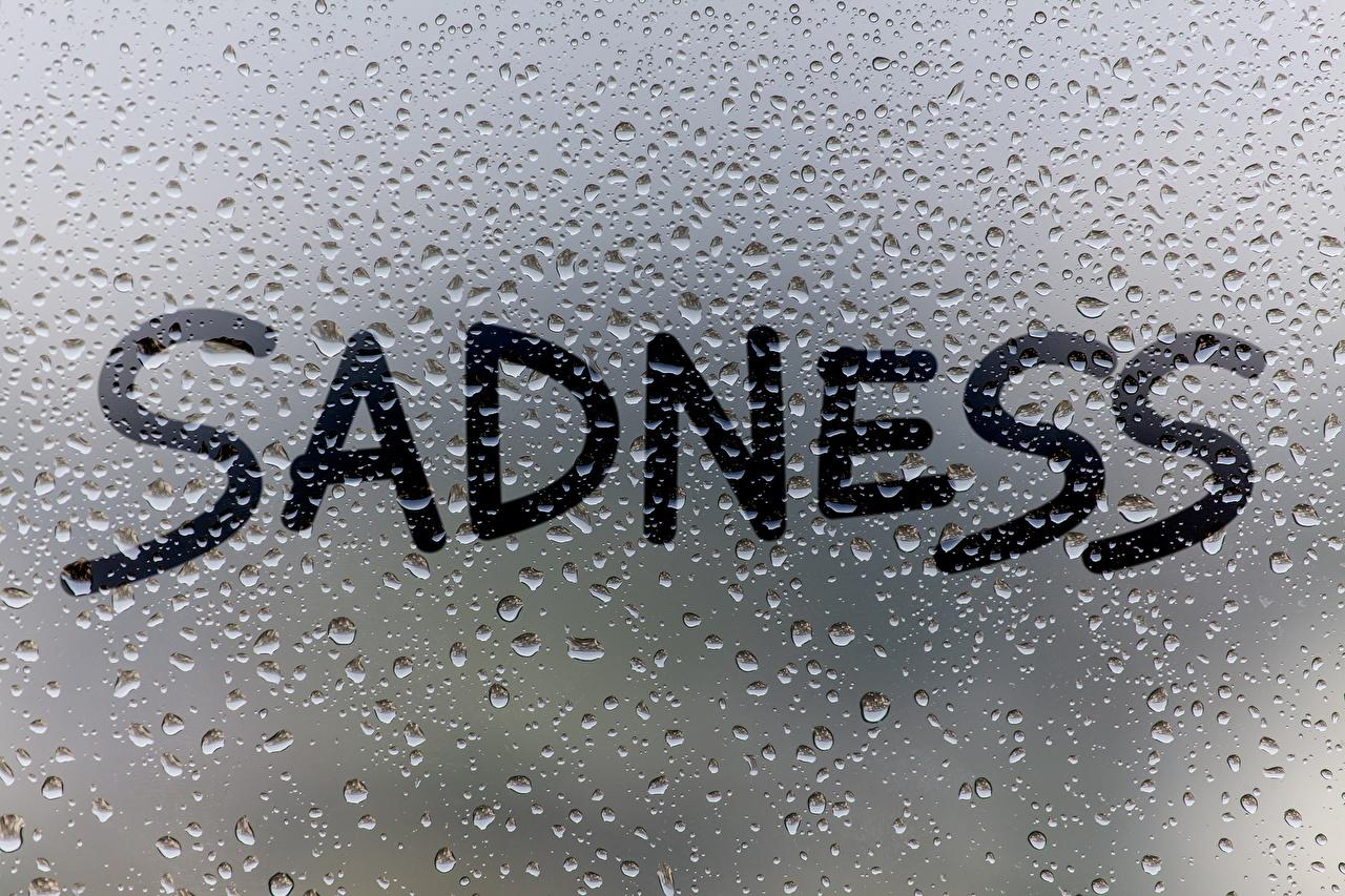 Обои для рабочего стола английская SADNESS текст капель Стекло Английский инглийские капля Капли слова капельки Слово - Надпись стекле стеклом