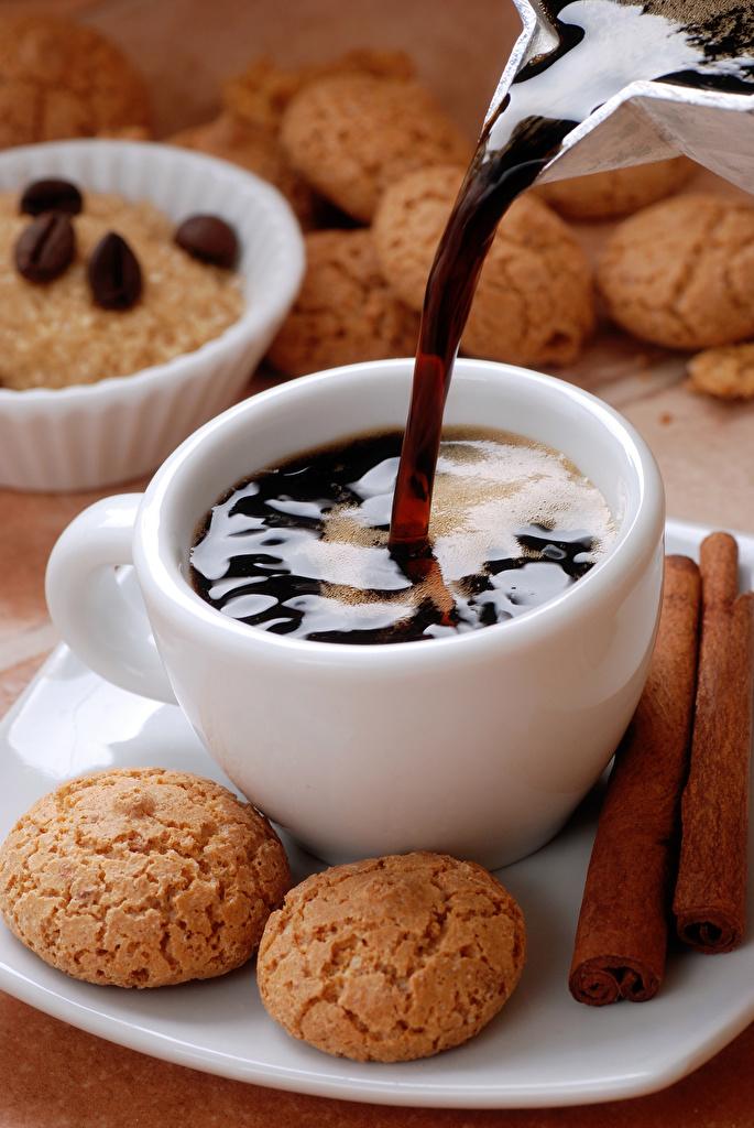 Картинки Кофе Еда Чашка Печенье Пища чашке Продукты питания