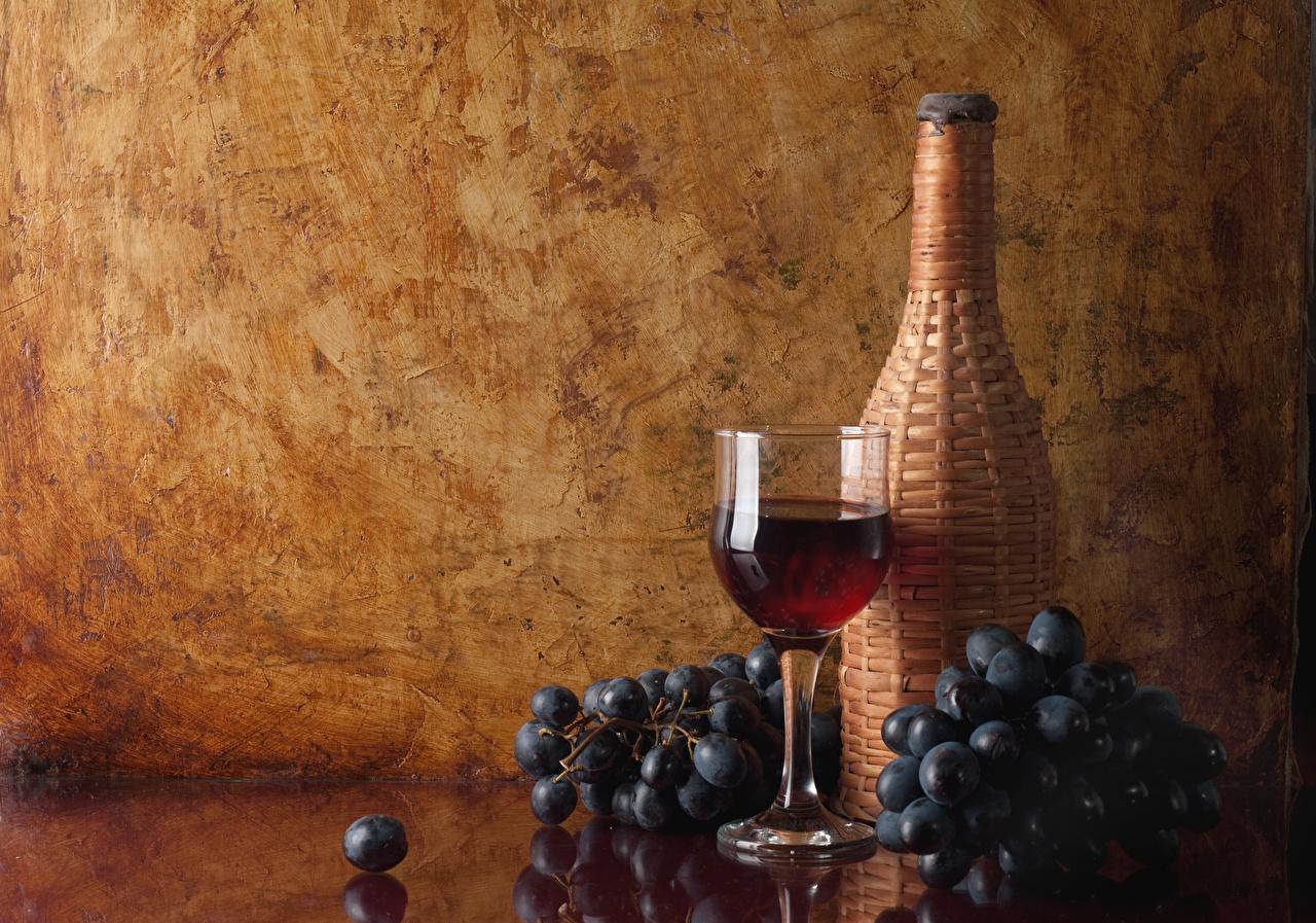 Фотографии Вино Виноград Пища Бокалы Бутылка Еда Продукты питания