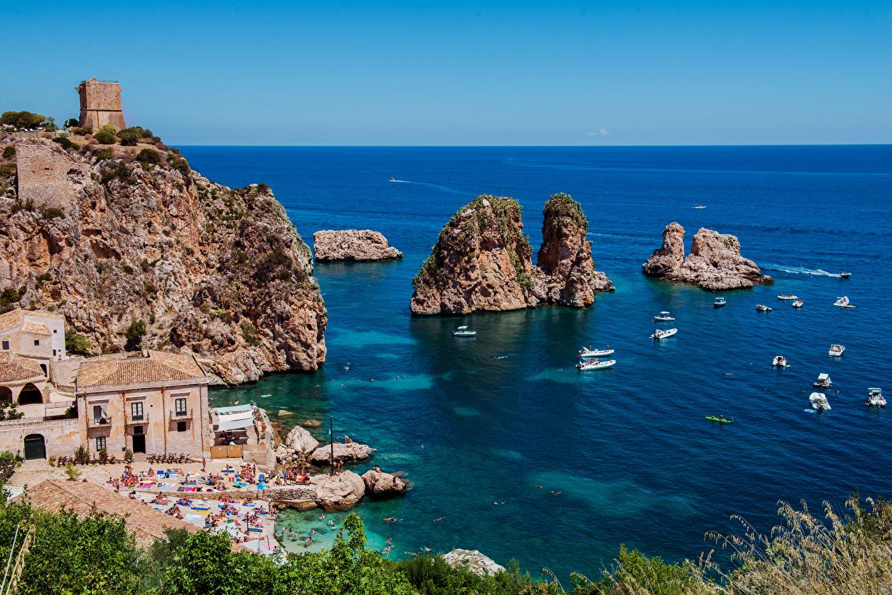Фотографии Сицилия Италия Scopello Море скале Природа Лодки Побережье Здания Утес скалы Скала берег Дома