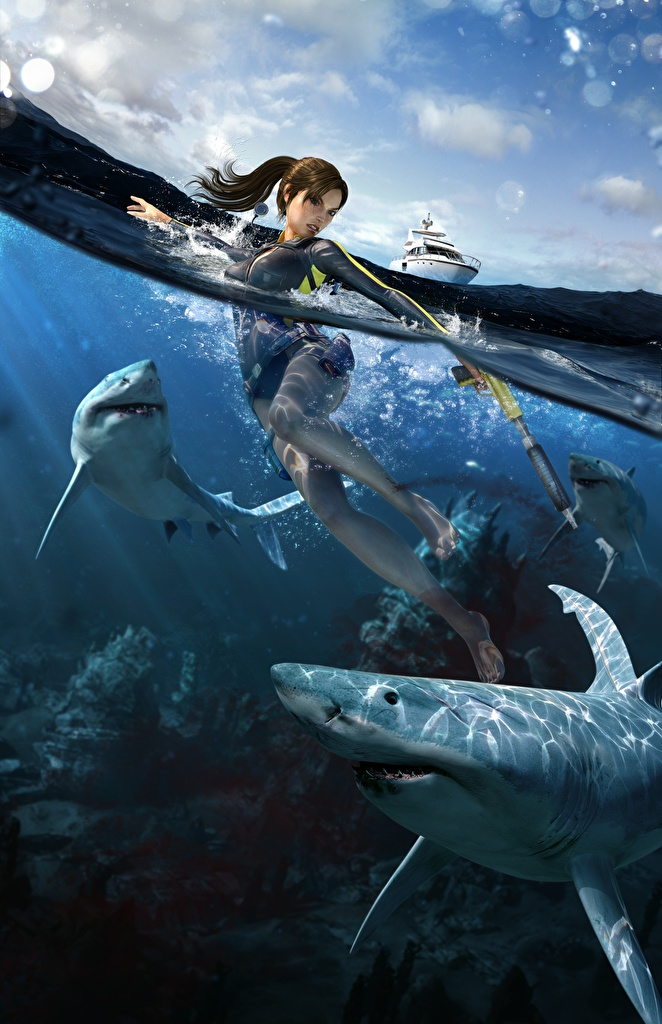 Фотографии Tomb Raider Underworld Акулы Лара Крофт Девушки Игры Вода