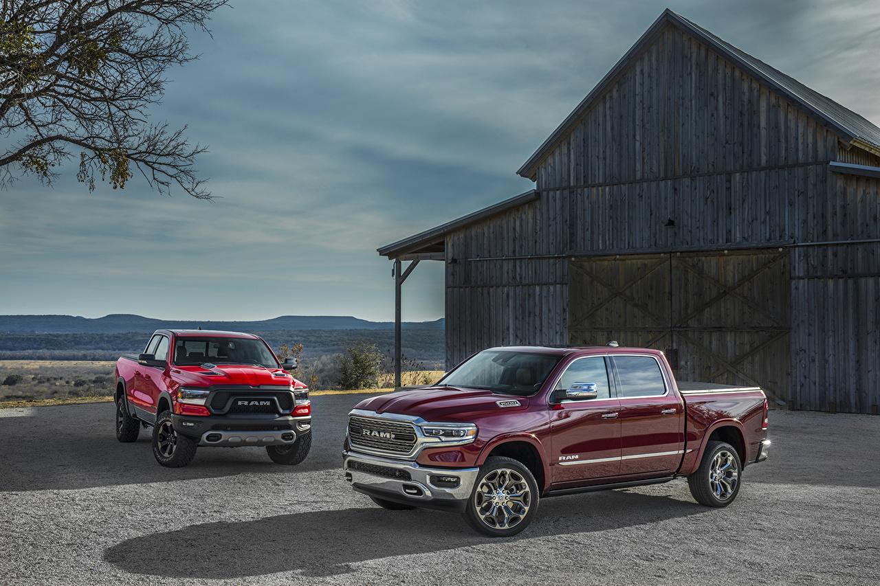 Картинка Dodge 2019 Ram 1500 Пикап кузов два Металлик Автомобили Додж 2 две Двое вдвоем авто машина машины автомобиль